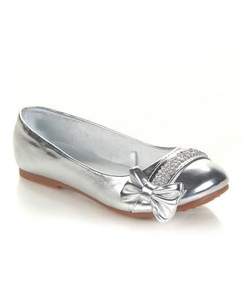 Silver Sparkle Bow Ava Flat