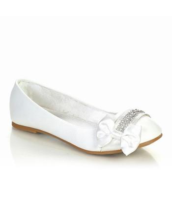 White Sparkle Bow Ava Flat