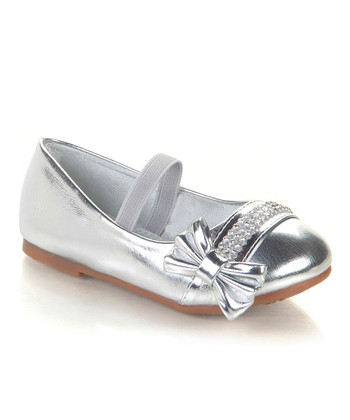 Silver Sparkle Bow Avali Flat