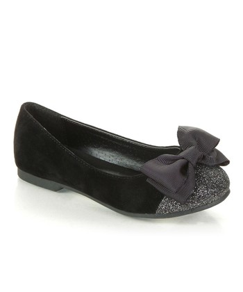 Black Sparkle Bow Biro Flat