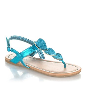Turquoise Sparkle Heart Yobu Sandal