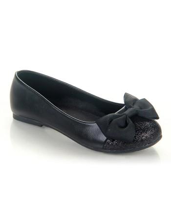 Black Sparkle Bow Miro Flat