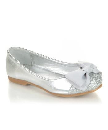 Silver Sparkle Bow Miro Flat