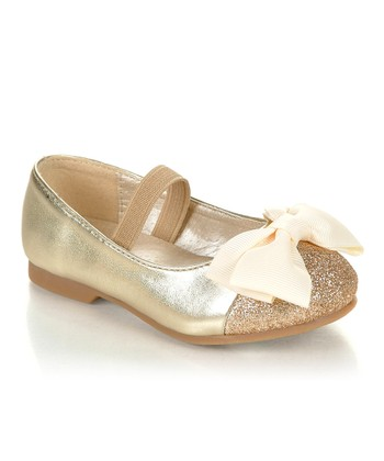 Gold Sparkle Bow Mirona Flat