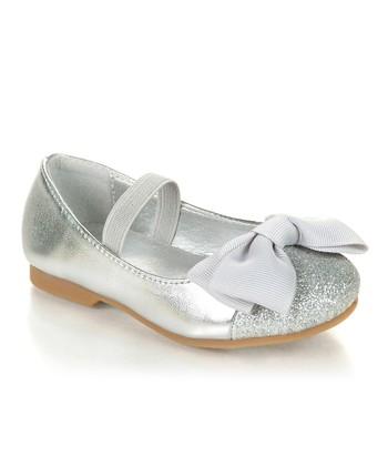 Silver Sparkle Bow Mirona Flat