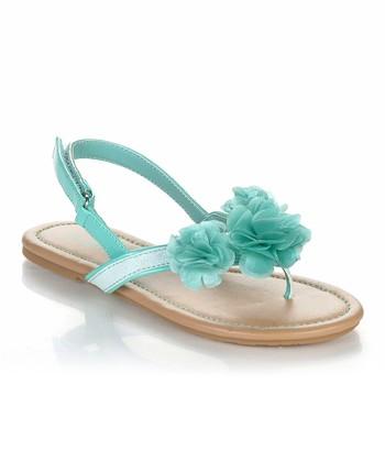 Sea Green Flower Poma Sandal