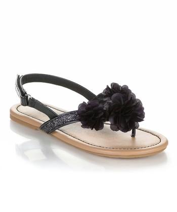 Black Flower Poma Sandal