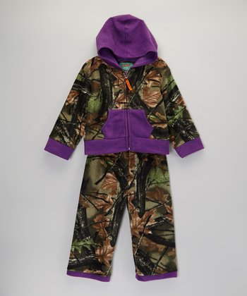 Purple Camo Fleece Hoodie & Pants - Infant & Toddler