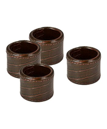 Brown Crocodile Napkin Ring - Set of Four