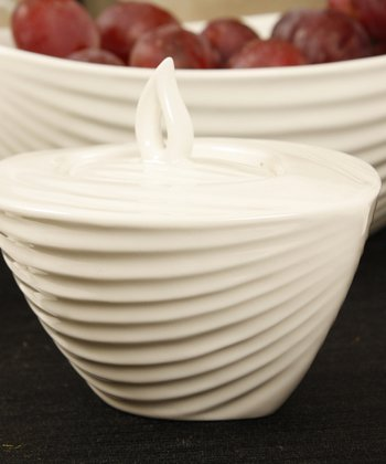 White Teardrop Sugar Pot