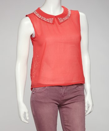 Coral Lace-Back Embellished Hi-Low Top