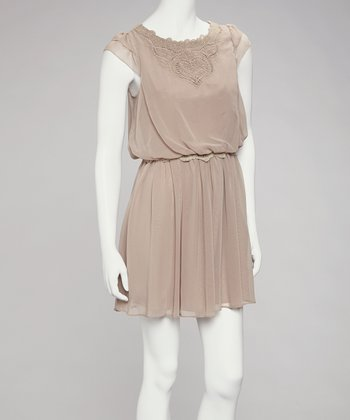 Taupe Crocheted Chiffon Dress