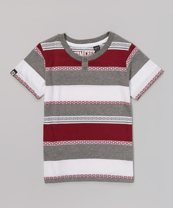 Burgundy & Gray Stripe Henley Tee - Toddler & Boys