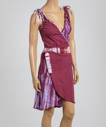 Plum Tie-Dye Surplice Dress - Women