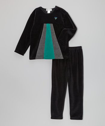 Black & Green Pyramid Velour Tee & Pants - Toddler & Girls