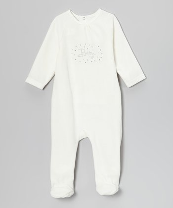 Off-White Rhinestone 'Baby' Velour Footie Set - Infant