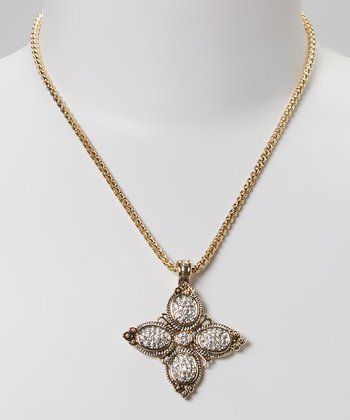 Clear Crystal & Gold Pendant Necklace