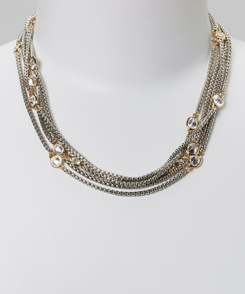 Clear Crystal & Two-Tone Chain Necklace