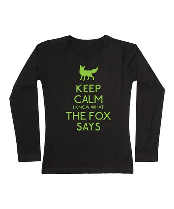 Black 'Keep Calm I Know What the Fox Says' Tee - Women