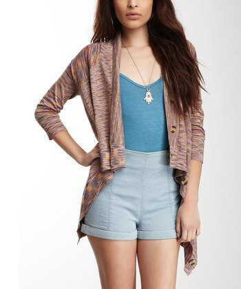 Brown & Pink Saddle Space Dye Cardigan