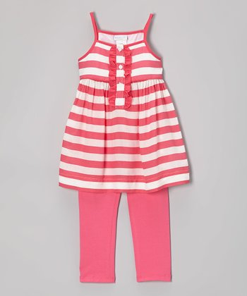 Fuchsia Stripe Yesi Tunic & Leggings - Infant, Toddler & Girls