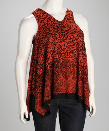 Orange Leopard Plus-Size Sidetail Tunic
