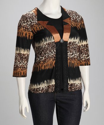 Brown Cheetah Layered Open Cardigan - Plus
