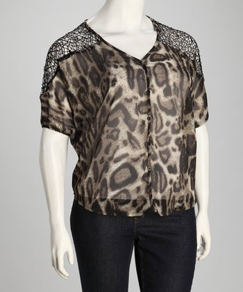 Black Cheetah Sheer Plus-Size Button-Up Top