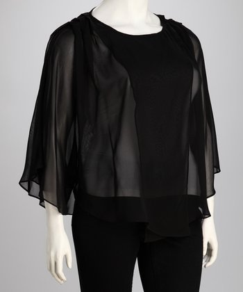 C.O.C. Black Sheer Plus-Size Cape