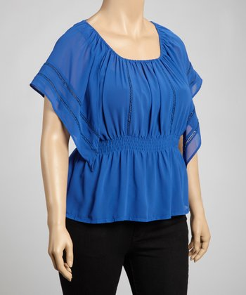Royal Blue Shirred Cape-Sleeve Top - Plus