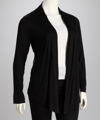 C.O.C. Black Lace Plus-Size Open Cardigan