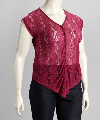 Fuchsia Sleeveless Plus-Size Button-Up