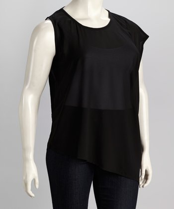 Black Plus-Size Asymmetrical Top