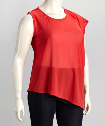 Coral Plus-Size Asymmetrical Top