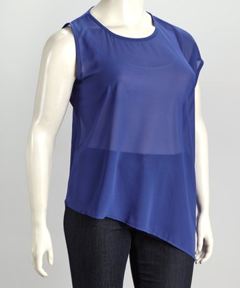 Royal Blue Plus-Size Asymmetrical Top