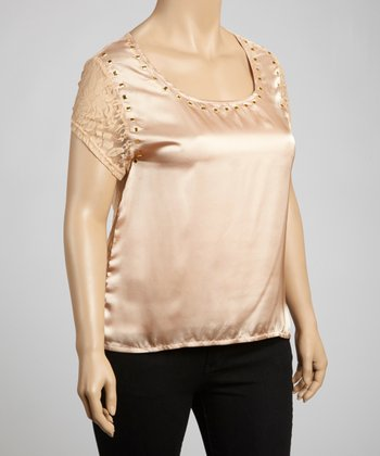 Beige Studded Lace-Back Top - Plus