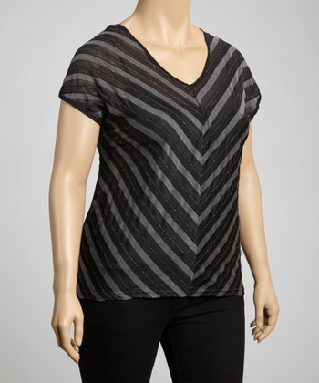Black Chevron Short-Sleeve Top - Plus
