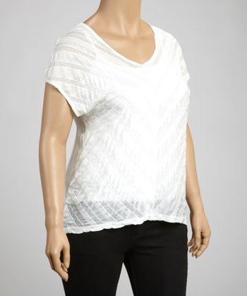 White Chevron Short-Sleeve Top - Plus