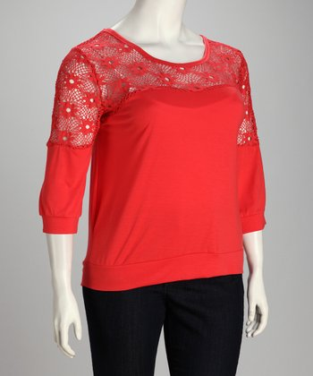 Coral Plus-Size Three-Quarter Sleeve Top