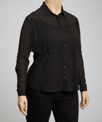 Black Fringe Button-Up Top - Plus