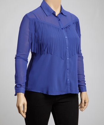 Royal Fringe Button-Up Top - Plus