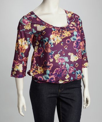 Purple Floral Lace Back Three-Quarter Sleeve Top - Plus