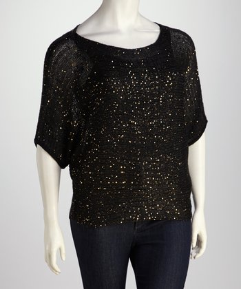 Black Sparkle Plus-Size Top
