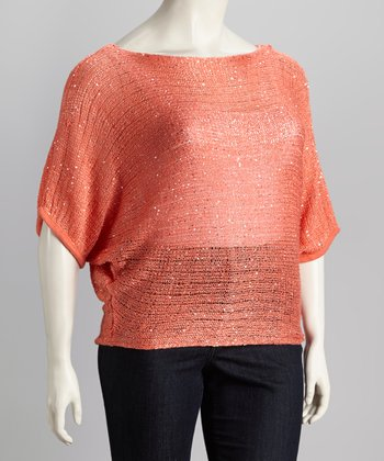 Coral Sparkle Plus-Size Top