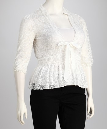 White Lace V-Neck Top - Plus