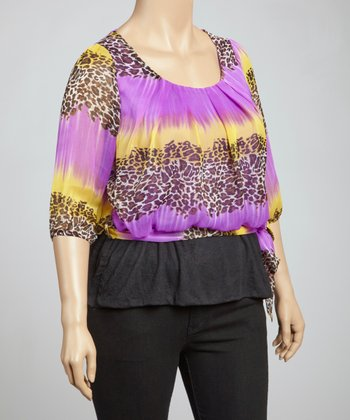 Purple Leopard Banded Top - Plus