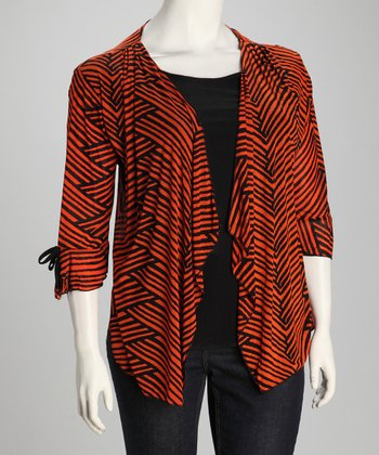Orange Geometric Layered Open Cardigan - Plus