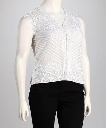 White Sheer Embroidery Sleeveless Top - Plus