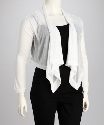 White Plus-Size Open Cardigan