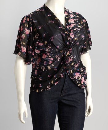 Black & Pink Plus-Size Button-Up